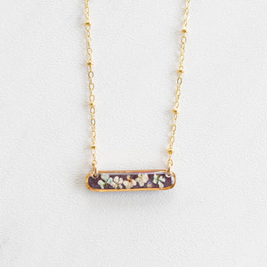 Flower Purple Bar Necklace