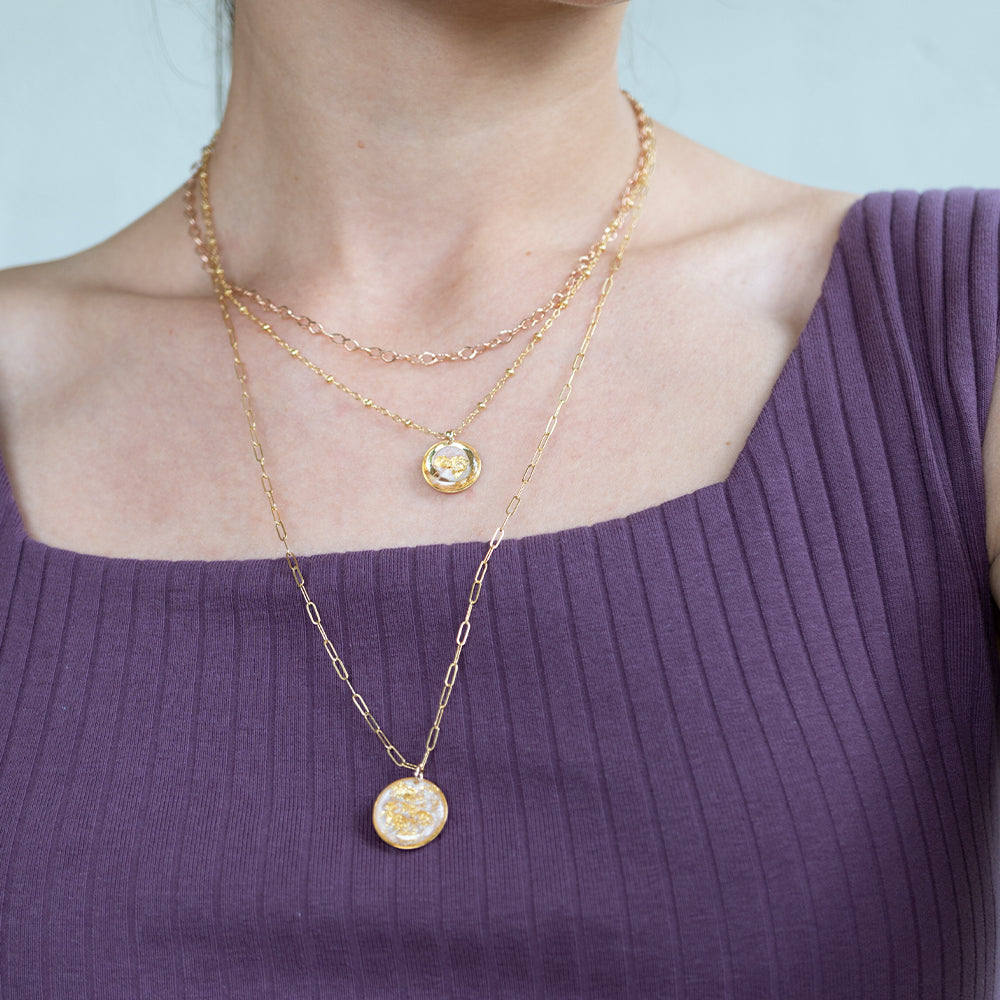 Large Circle Rose Necklace with Gold leaf