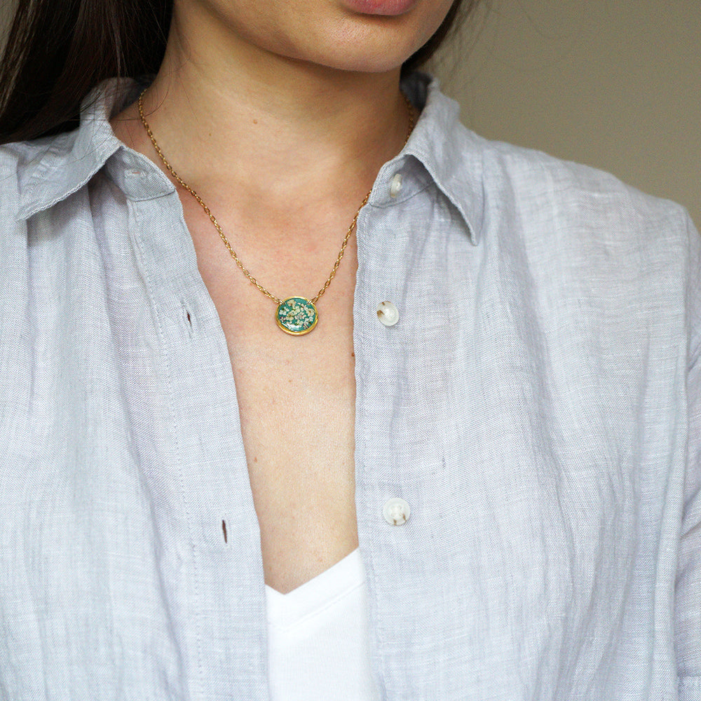 Green Circle Flower Necklace