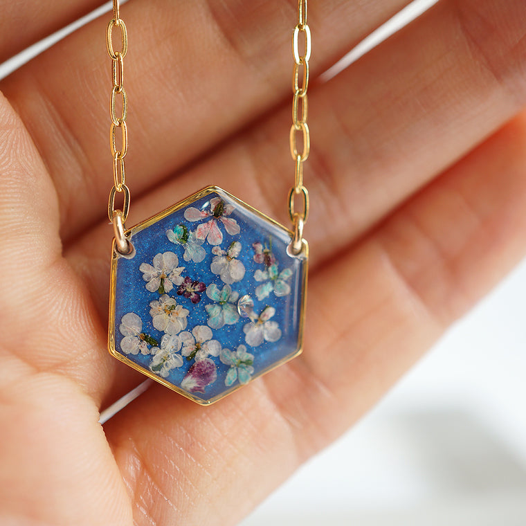 Large Hexagon Flower Necklace