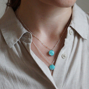 Silver Small Blue Necklace
