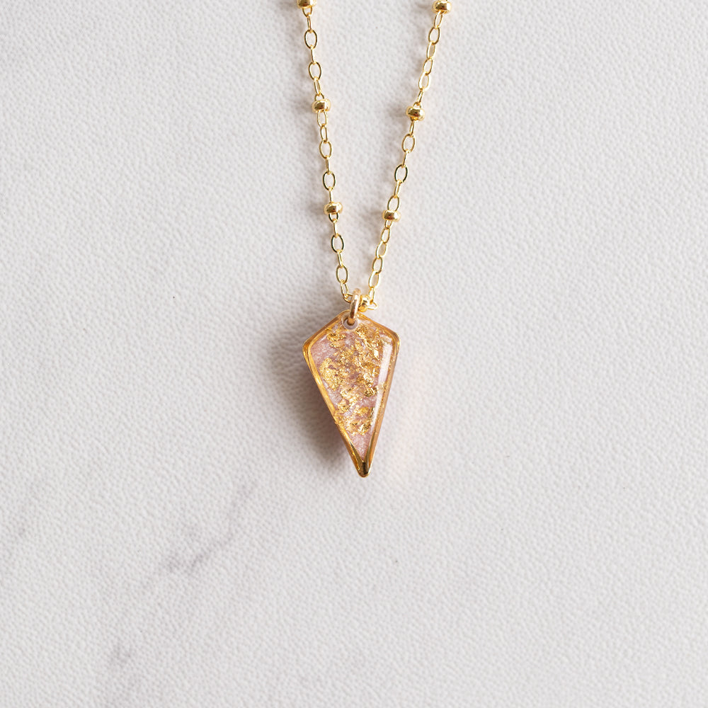 Load image into Gallery viewer, Diamond Necklace with Gold Leaf