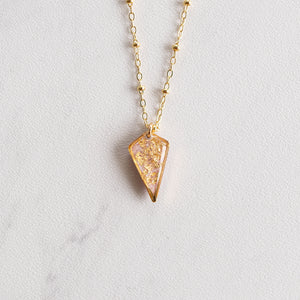 Diamond Necklace with Gold Leaf