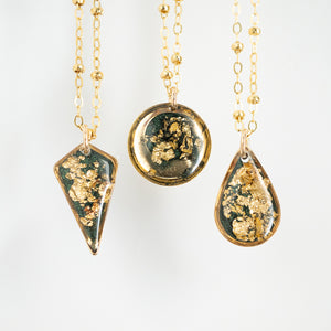 Dark Green Necklace with Gold Leaf