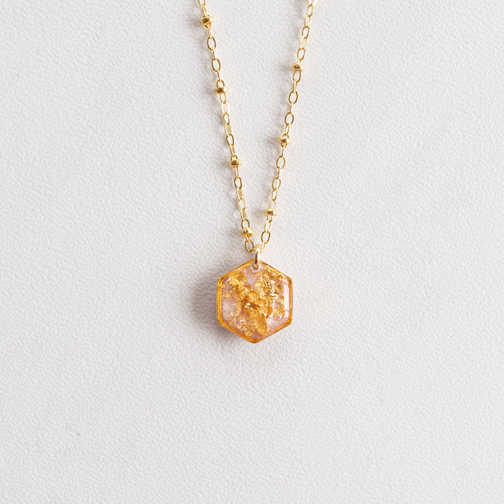 Rose Necklace with Gold Leaf