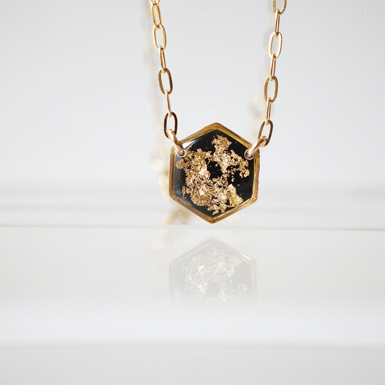 Black and gold Hexagon Necklace