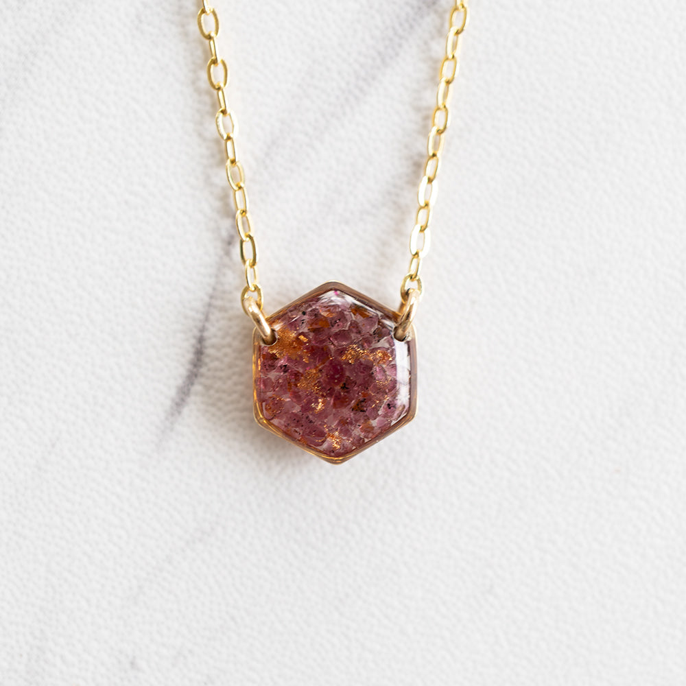 Garnet Hexagon Necklace