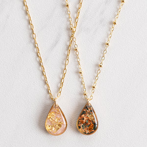 Teardrop Necklace with Gold Leaf