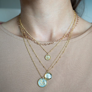 Light Blue Necklace with Gold Leaf