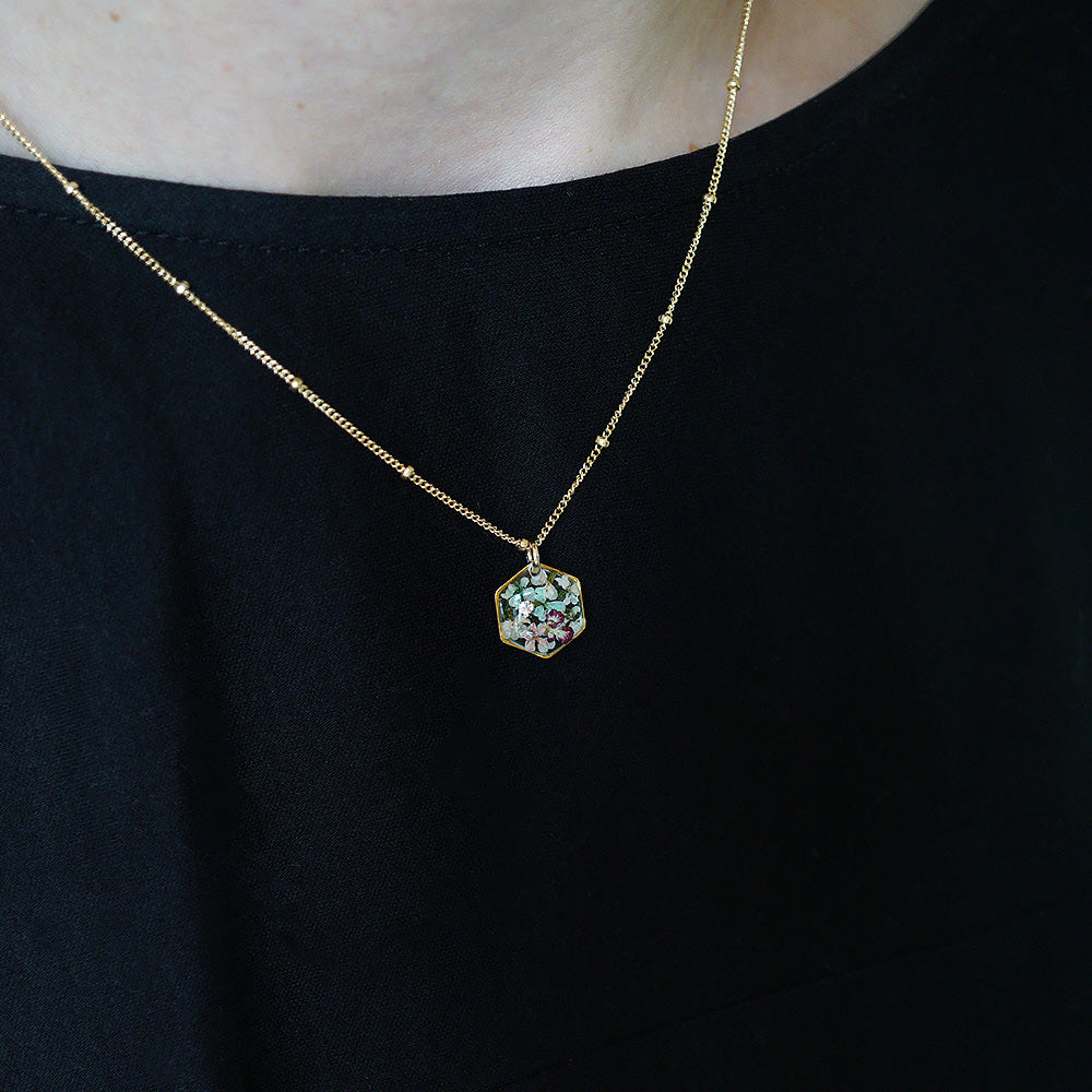 Small Flower Hexagon Necklace