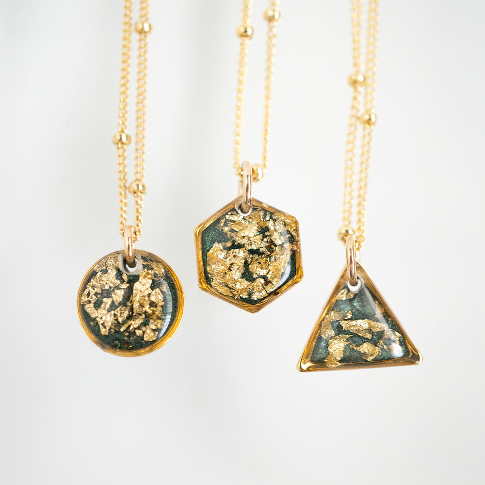 Load image into Gallery viewer, Small Green with Gold Necklace