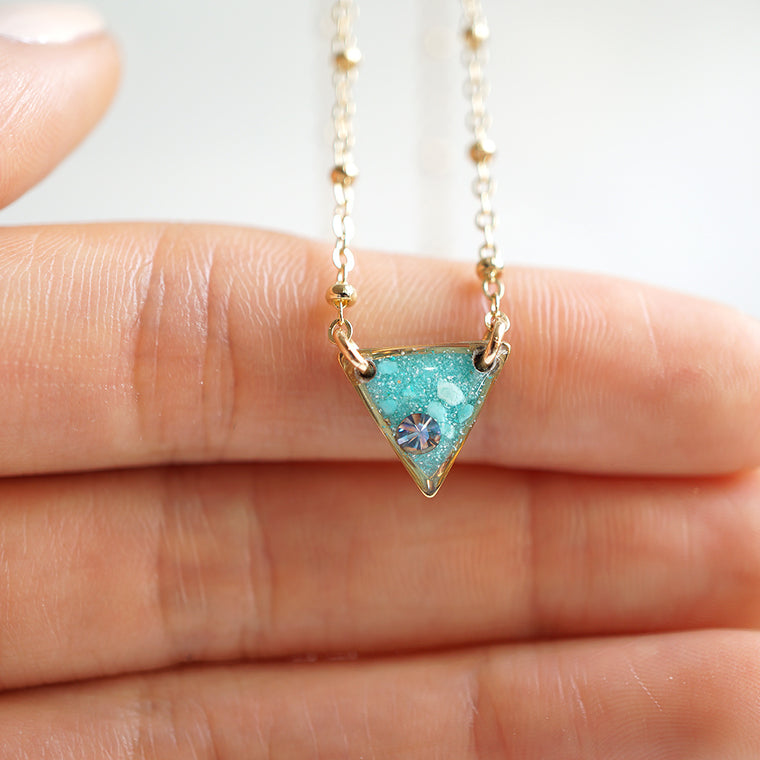 Delicate Blue Triangle Necklace