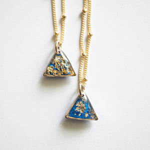 Triangle Bright Blue wit Gold  Necklace