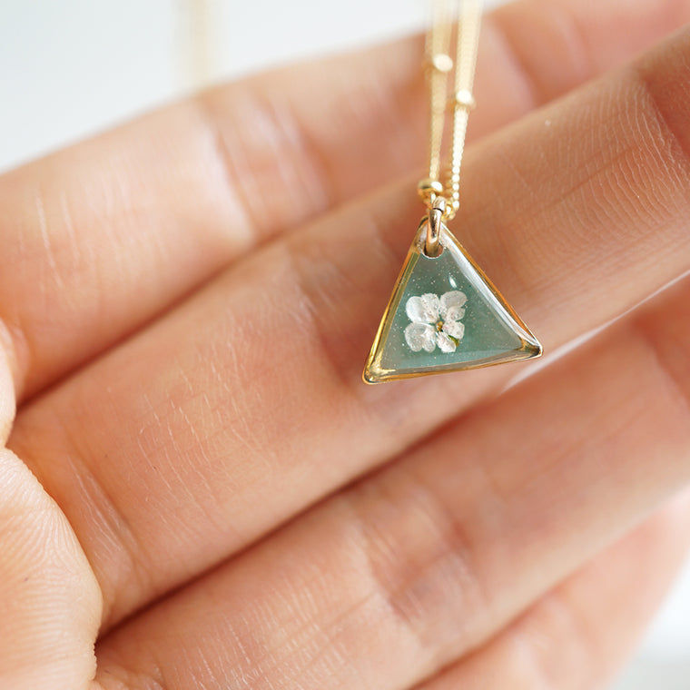 Green Flower Triangle Necklace
