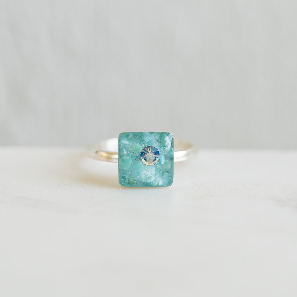 Blue Square Ring in Silver