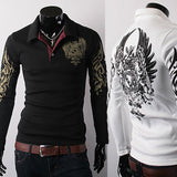 2015 New men's long sleeve t shirt printing Eagle lapel fashion famous brand men t shirt tops