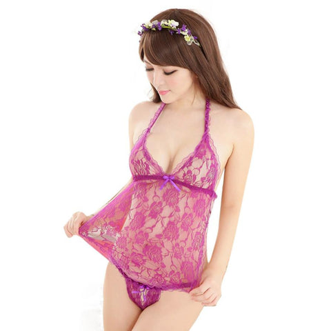 4 Colors Women Sexy Lingerie Underwear Intimates Sleepwear Nightwear Lace Dress G-String Temptation Free Size