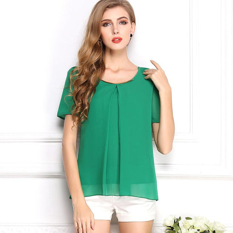 2015 New Korean Style Solid Chiffon Women Blouse Summer Free Shipping O-Neck Drop Shipping Blouse 6 Sizes 10 Colors