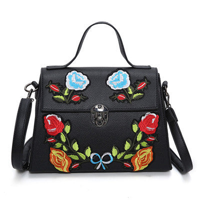 2017 National Vintage Floral Embroidered Bag Women Leather Handbags Famous Brand Women Shoulder Messenger Bags Ladies Bolsos Sac