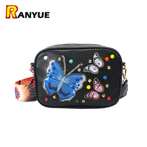 2017 Rivet Embroidered Butterfly Bag Women Leather Handbags Purses Famous Brand Shoulder Bags Ladies Hand Bags Black Bolsa small