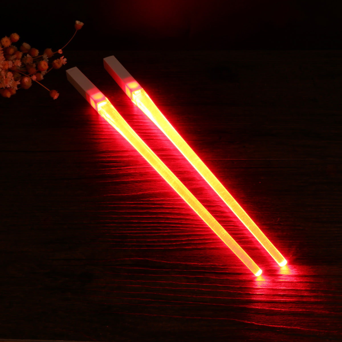 Colorful BPA Free Food Safe LED Lightsaber Chopsticks For The Coolest People (Blue And Red)