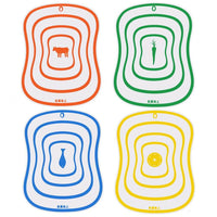 Colorful Individually Labelled Non Slip Chopping Boards (4 Pieces Set)