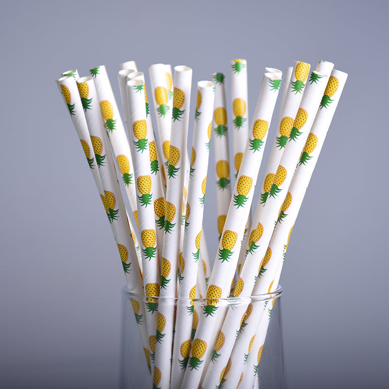 Cute Pineapple Print Disposable Straws That Stands Out In All Your Casual Events And Parties (25 Pcs)