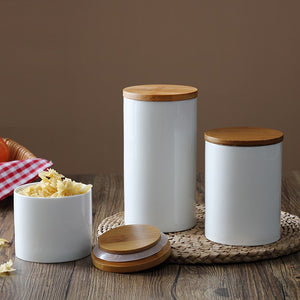 Dynamic Ceramic Food Storage Jars With Bamboo Lid (3 Sizes Available)