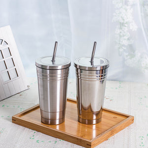 Elegant Double Walled Stainless Steel Cup With Straw To Take Your Drink Wherever You Want