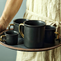Beautiful Gold And Black Ceramic Coffee Mugs For Yourself And Your Guests (Various Sizes Available)