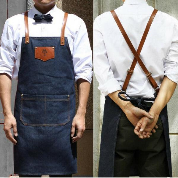 Fashionable Easy Wash Denim Style Unisex Apron With Leather Straps To Look Stylish In Your Kitchen