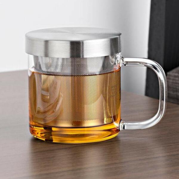 Graceful Mini Heat Resistant Glass Cup With Stainless Steel Infuser To Enjoy Freshly Brewed Tea And Coffee