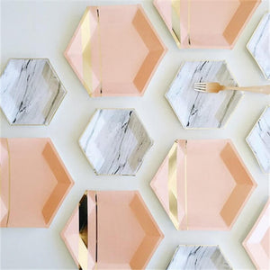 Glamorous Hexagon Paper Plates That Will Add Colors To Your Parties And Special Occasions (72 Pcs)