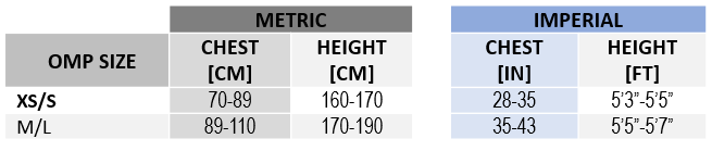 OMP | KS Lightweight Body Protection Size Chart