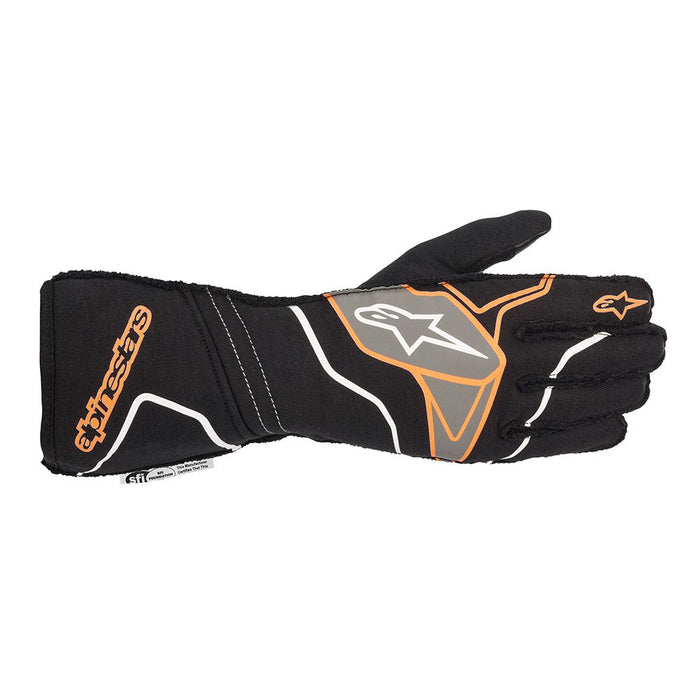 Alpinestars TECH-1 ZX V2 Racing Gloves - Black / Fluo Orange Front - Fast Racer