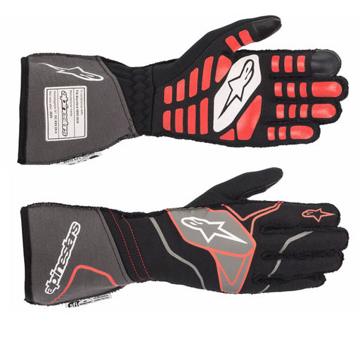 Alpinestars TECH-1 ZX V2 Racing Gloves - Black / Anthracite / Red Front and Back - Fast Racer