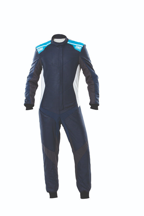 OMP One Evo X Racing Suit - Ultra-light Racing Suit - IA01861 - Front - Navy Blue / Cyan - MY2021 - Fast Racer