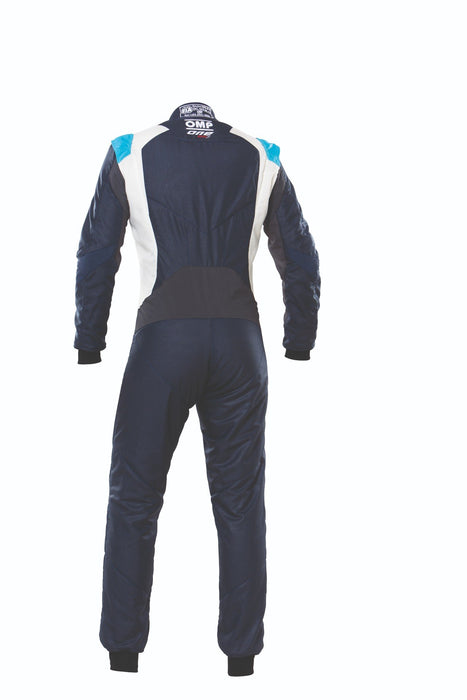 OMP One Evo X Racing Suit - Ultra-light Racing Suit - IA01861 - Back - Navy Blue / Cyan - MY2021 - Fast Racer