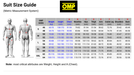 OMP Racing Suits Size Charting - Metric Measurement System - Fast Racer