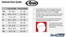 Arai Helmets Kart Racing Automotive Size Chart