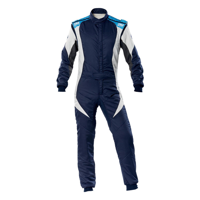 OMP FIRST EVO SUIT MY2020 Navy Blue White Cyan - Fast Racer