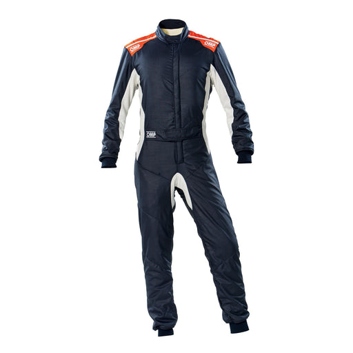 OMP ONE-S Auto Racing Fire Suit , Navy Blue / Orange Front - Fast Racer