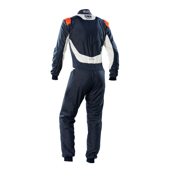 OMP ONE-S Auto Racing Fire Suit , Navy Blue / Orange Back - Fast Racer