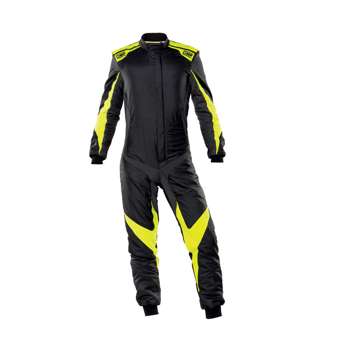 OMP One Evo X Racing Suit - Ultra-light Racing Suit - IA01861 - Front - Black / Fluo Yellow - MY2021 - Fast Racer