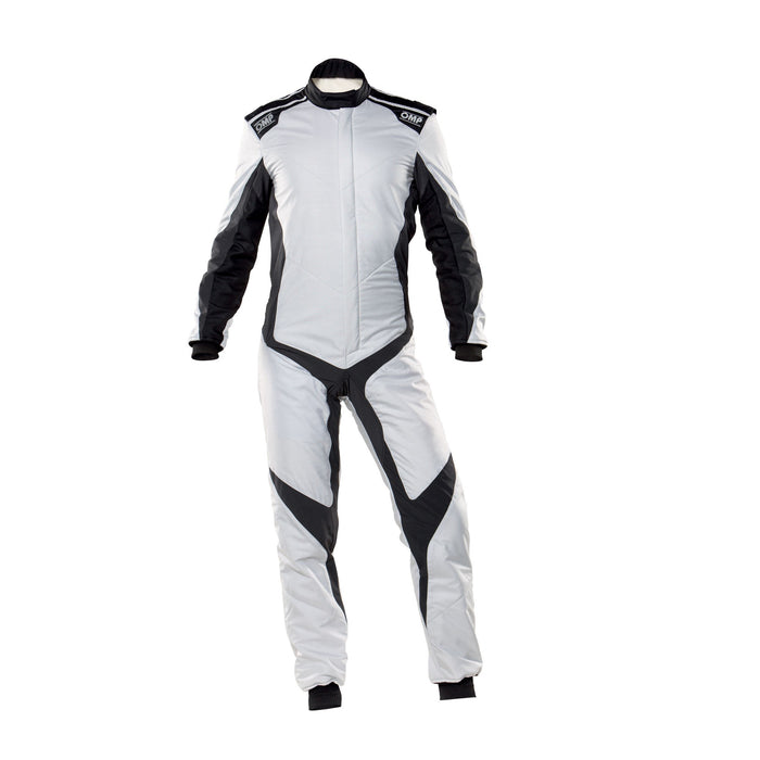 OMP One Evo X Racing Suit - Ultra-light Racing Suit - IA01861 - Front - Light Silver / Black - MY2021 - Fast Racer