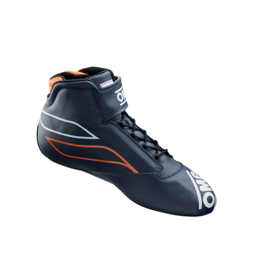 OMP ONE-S Auto Racing Boots Shoes , Navy Blue / Fluo Orange - Fast Racer 2