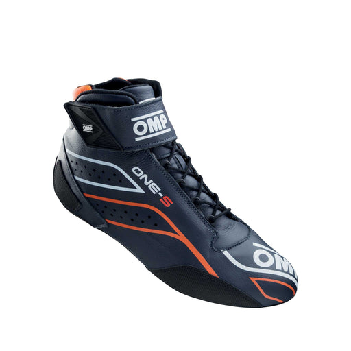 OMP ONE-S Auto Racing Boots Shoes , Navy Blue / Fluo Orange - Fast Racer 1