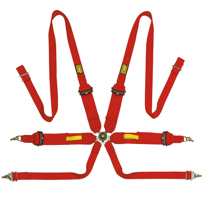OMP Tecnica 3+2 Saloon 6 Point Harness, Red, Fast Racer