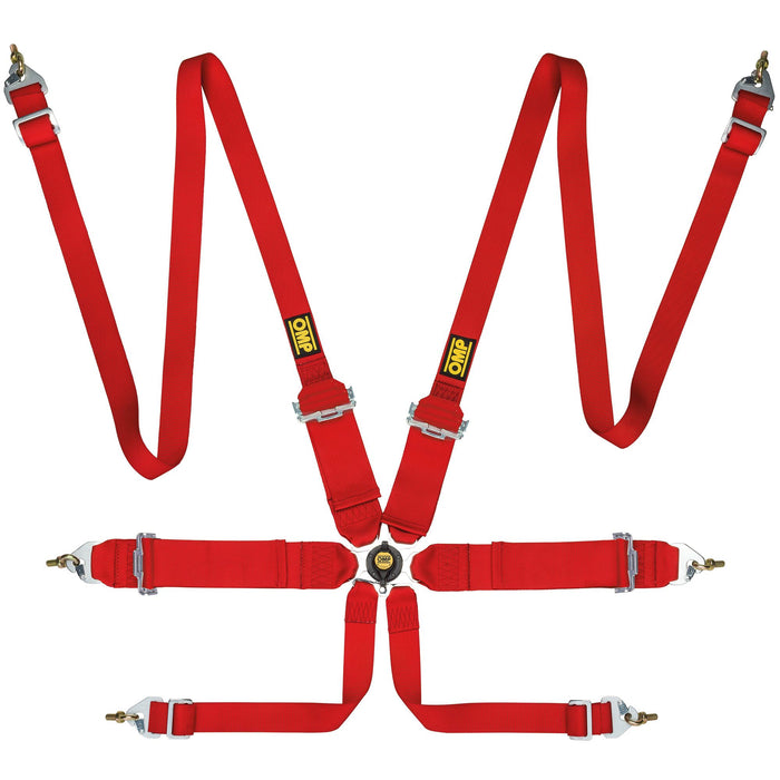 OMP First 3+2 Saloon 6 Point Harness, Red - Fast Racer
