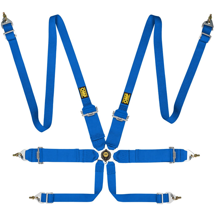 OMP First 3+2 Saloon 6 Point Harness, Blue - Fast Racer